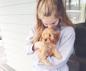 girl, bambi, and dog image