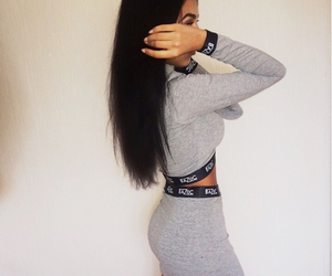 grey, skirt, and crop top image