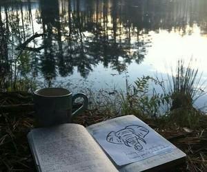 book, nature, and lake image