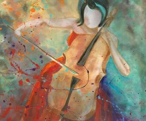 music, art, and cello image