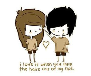 love, hair, and couple image