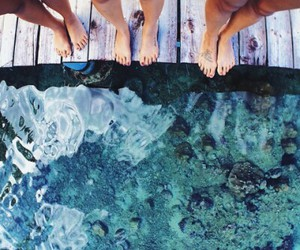happiness, water, and friends image