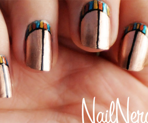 gold, egyptian nails design, and nails image