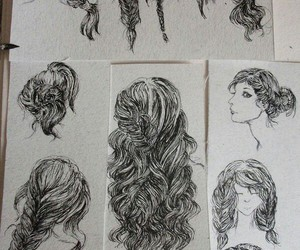 drawing, hair, and style image
