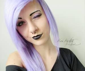 marie mystery, purple hair, and pastel goth image