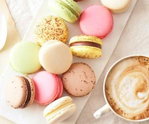 food, macaroons, and coffee image