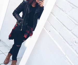 black, leather, and timberland image