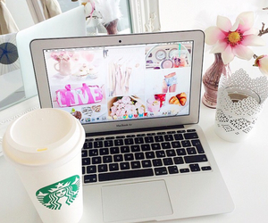 starbucks, flowers, and macbook image
