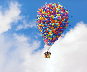 up, sky, and balloons image
