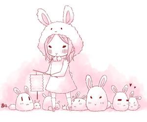 anime, cute, and bunny image