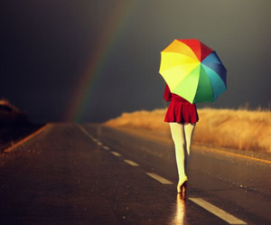 rainbow, umbrella, and rain image