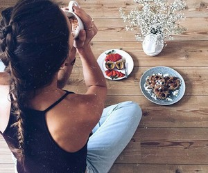 girl, hair, and food image