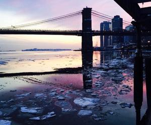 brooklyn bridge, city, and new york image