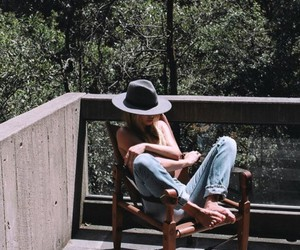 hat, jeans, and summer image