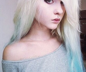 girl, piercing, and colored hairs image