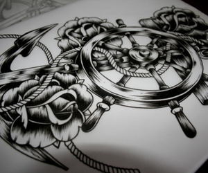 tattoo, anchor, and drawing image