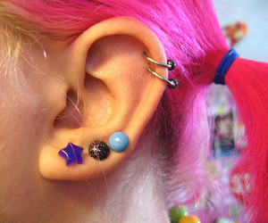 ear, earring, and hair image