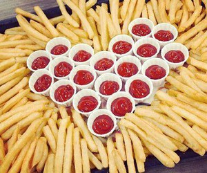 food, fries, and ketchup image