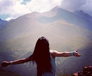 girl, mountains, and beautiful image