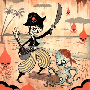 Camille Rose Garcia, octopus, and pirates image