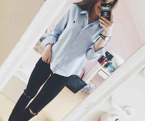 fashion, blue shirt, and chic image