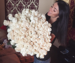 flowers, roses, and girl image