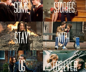 harry potter, the hunger games, and the fault in our stars image