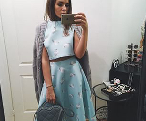 bag, blue, and brunette image