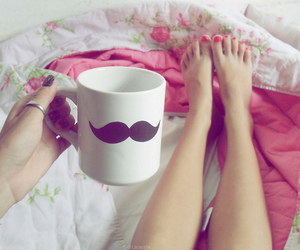 mustache, pink, and cup image