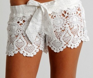 shorts, white, and lace image