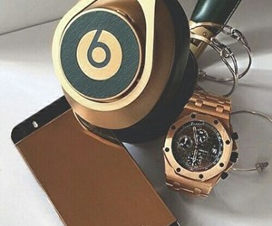 gold, iphone, and beats image