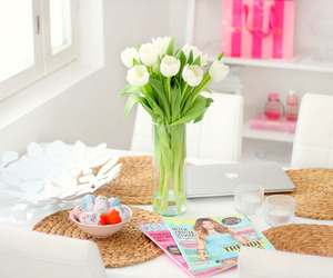 flowers, home, and white image