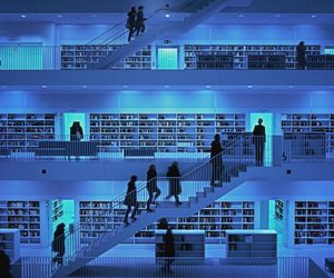 library, people, and blue image