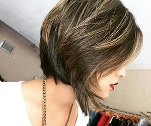 blonde, brunette, and haircut image