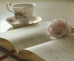 book, cup, and coffee image