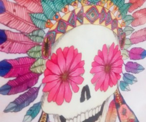 black, calavera, and colorful image