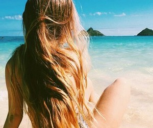 beach, hair, and happy image