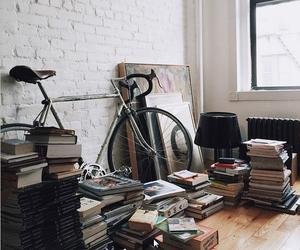 books, bike, and white image