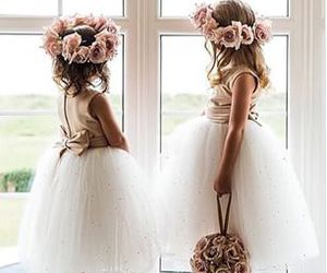 girl, wedding, and flowers image