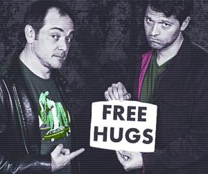 crowley, hugs, and castiel image