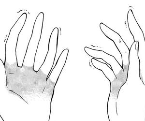 manga, black and white, and hand image