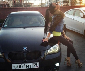 girl, bmw, and car image