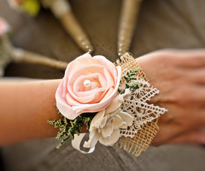 corsage, flowers, and pink image