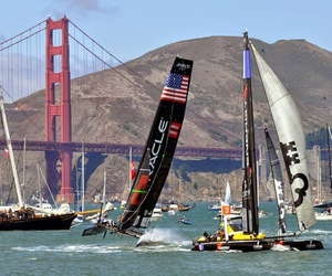 boats, golden gate bridge, and sailing image