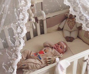 cute, baby, and bed image