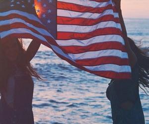 america, flag, and girl image