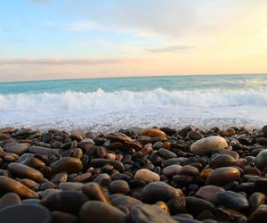 beach, rock, and sea image