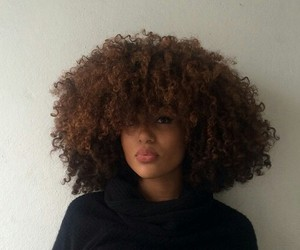 black, cheveux, and curly hair image