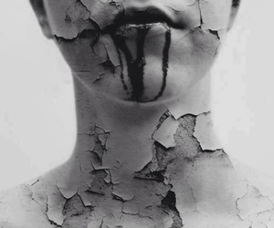 blood, broken, and black and white image