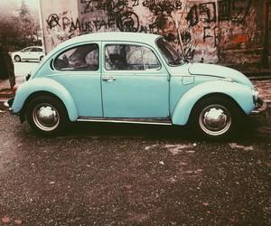 car, vintage, and blue image